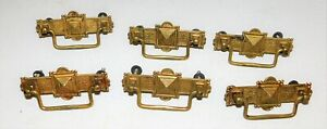 6 Antique Victorian Brass Drawer Pulls Nice Free Shipping
