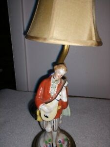 Antique Vintage Bisque Porcelain Table Lamp With Figure Of Boy Man 13 5 Tall