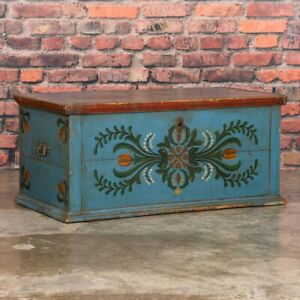 Antique Hungarian Folk Art Painted Trunk