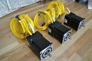 New Lot Of 3 Parker Be342hj Nema34 Brushless Servo Motors 1100w With 10ft Cables