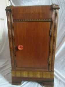 Vintage Antique Art Deco Night Stand With Drawer With Original Bakelite Pull
