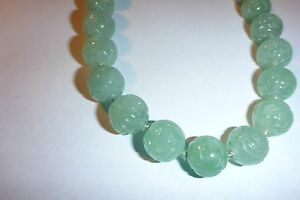 Antique Vintage Hand Carved Jade Bead Necklace Incredible Detail 20