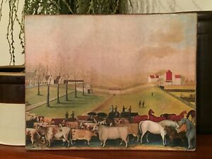 Primitive Antique Repro Folk Art Field Cows Horses Print On Canvas Board 8x10