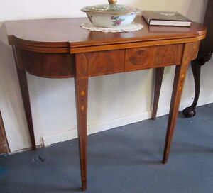 Antique American Federal Inlaid Mahogany Card Table Circa 1800 High Quality
