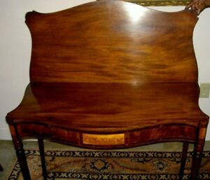 Antique American Federal Portsmouth Card Table W Flame Birch Antique Circa 1810