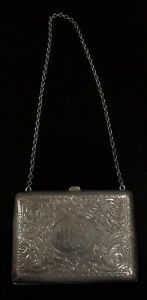 Antique William B Kerr Sterling Silver Coin Purse Card Case Nouveau