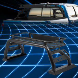 For 15 19 Toyota Tacoma Truck Bed Black Aluminum Roll Bar Cage Cargo Rack Basket