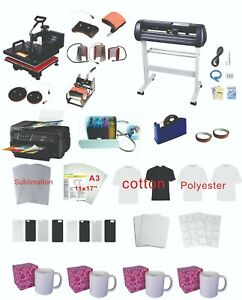 34 Plotter 8in1 15x15 Pro Sublimation Press Epson 11 x17 Wf 7710 Printer Kit