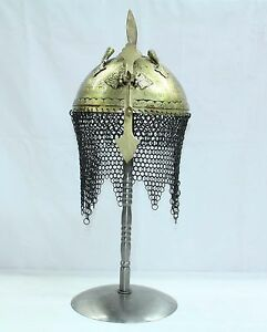 Handcrafted Indo Persian Ottoman Islamic Soldier Helmet With Stand Armour