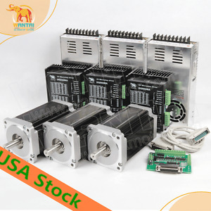 Free Ship 3axis Cnc Kit Nema34 Stepper Motor 1090oz in 5 6a 14mm Shaft
