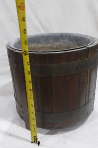 Vintage Metal Lined Wood Bucket Pail