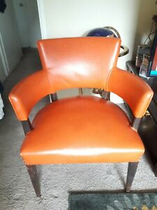 Vintage Vinyl Wing Back Library Chair Dark Orange Pre 1960 S