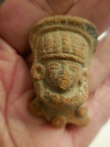 Antique Pre Columbian Carved Stone Head Face Mask 3