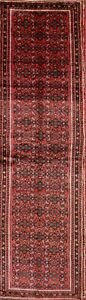Excellent Condition Geometric Red 4x14 Wool Hamedan Runner Rug Oriental