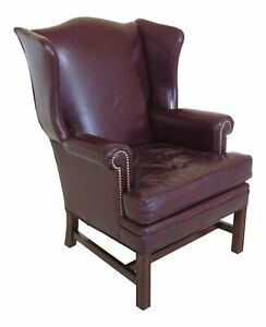 F46782ec Leathercraft Burgundy Leather Wing Back Chair