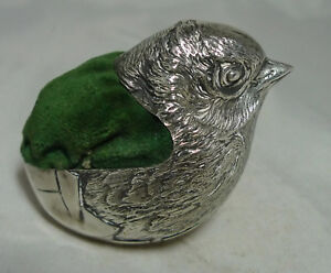 Large Antique Silver Sampson Mordan Silver Chick Pin Cushion 110g 6 4cm A695717
