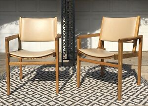 Mcm Pair Of 50s Mid Century Modern Jens Risom La Chaise Walnut Wooden Arm Chairs