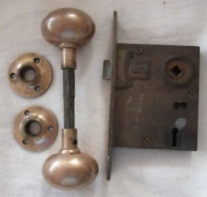 Vtg Brass Door Lock Set Getty Mortise Lock Knobs Dead Bolt Works No Key