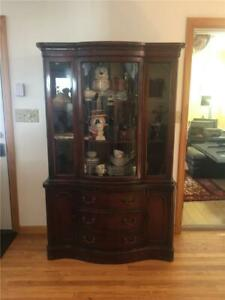 Antique Mahogany Curved Glass Lighted China Cabinet