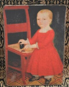 Handmade Primitive Folk Art Girl In Red Dress W Chair Print On Canvas Board 5x7
