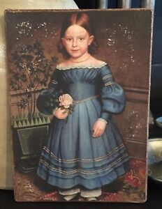 Antique Reproduction Primitive Girl In Blue Dress W Rose Print On Canvas Board
