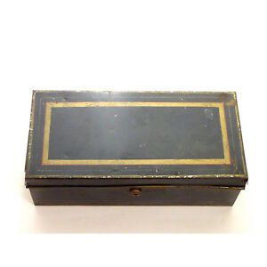 Vintage Metal Black Gold Trim Bank Teller Cash Box Money Till