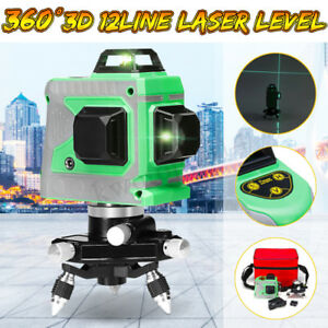 3d 12line Green Laser Level Self Leveling 360 Rotary Cross Outdoor Measure Tool