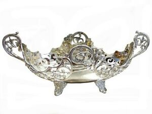 Silver Plated Fruit Bowl Centerpiece Ornate Gondola Vintage Antique Gift 12