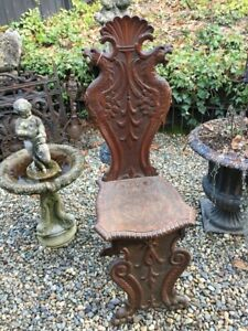Highly Carved Antique 19th Century Winged Griffin Fantasy Chair With Paw Feet