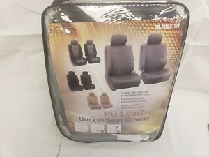 Faux Leather Car Seat Covers Universal Front Bucket Set Solid Gray