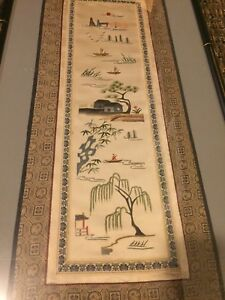 2 Beautiful Vintage Chinese Asian Embroidered Silk Panels Birds Trees Embroidery