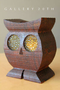 Rare Vtg Mid Century Modern Wood Owl Sculpture 60 S Candle Holder Lamp Sconce