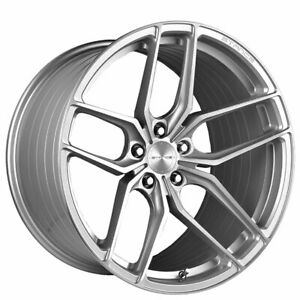 Qty4 22 Staggered Stance Wheels Sf03 Brush Silver Rims Ca