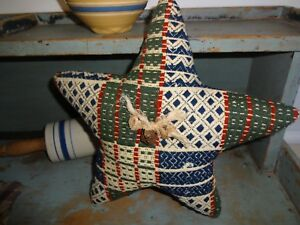 Vintage Wool Coverlet Star Pillow Primitive Americana Handmade