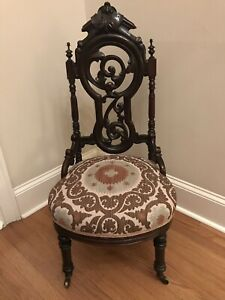 Antique Victorian Gothic Rococo Heavily Carved Rosewood Slipper Parlor Chair