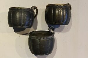 Pewter Or Bronze Antique Drinking Glass Holder 3 In Set