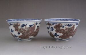 A Pair Nice Chinese Ming Blue White Underglaze Red Porcelain Bowls Teacups Cups