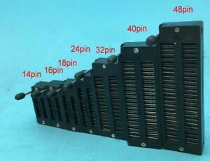 Dip Test Zif Ic Dip Socket 14pin 16pin 18pin 24pin 32p 40pin 48pin 2 54mm Black