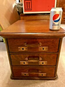 Fine Victorian Antique Paneled Tiger Quarter Oak Desk Top File Drawer Cabinet