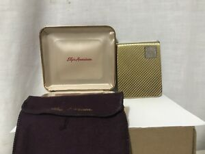 Vintage Elgin American Sterling Silver Cigarette Case With Box Bag