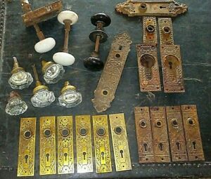 Lot Antique Door Knobs Plates Pocket Sliding Pulls Victorian Vintage Hardware