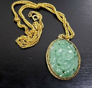Vintage Chinese Export Carved Floral Green Jade Stone Pendant Chain Necklace