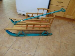 Vintage Wooden Baby Sleigh Nice 5453