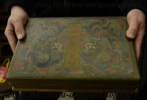 12 Chinese Wood Lacquerware Double Dragon Storage Jewelry Chest Bin Box