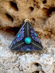 Stunning Chinese Antique Sterling Silver Turquoise Enamel Filigree Pill Box