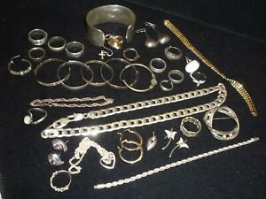 Not All Scrap Silver Job Lot 422 Grams 925 Rings Bracelets Earrings Etc Chains