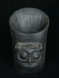 6 China Stone Carved Smiling Face Official Cap Jade Cong Brush Pot Pencil Vase