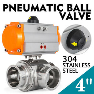 4 Three Way T port Pneumatic Ball Valve Tri clamp Gas Pharmaceutical Brewery