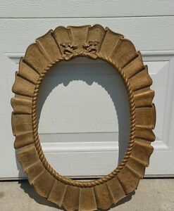 Vintage Large Oval Picture Mirror Frame Ornate