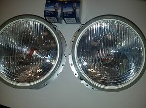 Flat Hella H4 Head Light Vintage Vw Volkswagen Bug Super Beetle Thing Ghia Pair
